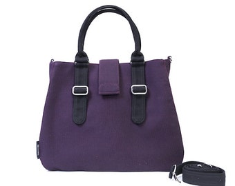 POPPY / Large / Ship in 5 days / Purple / Lined with Grey Stripes / Adjustable Strap and Elastic Pockets / Diaper Bag / Handbag / new mom