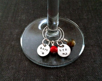 His and hers wine glass charms wine charm markers stemware markers wine markers