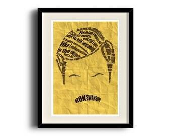 Ron Swanson typographic poster, Ron Swanson digital art poster