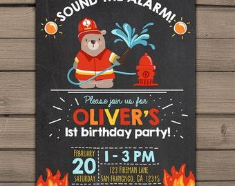 Fireman birthday party invite Firefighter invitation Fireman invite Firetruck Fire party Chalkboard fire Birthday invitation boy PRINTABLE