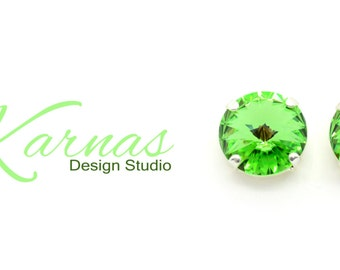 PERIDOT 12mm Crystal Rivoli Stud or Post Earrings Made With Swarovski Elements *Pick Your Finish *Karnas Design Studio *Free Shipping*