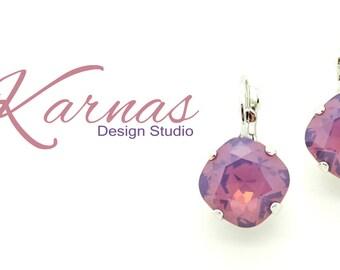 CYCLAMEN OPAL 12mm Crystal Cushion Cut Drop Earrings Made With Swarovski Elements *Pick Your Finish *Karnas Design Studio *Free Shipping*