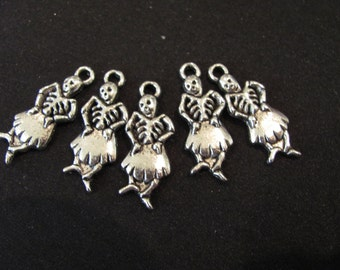 10 sugar SKULL SKELETON charms for jewelry pendants Day of the Dead 7/8""