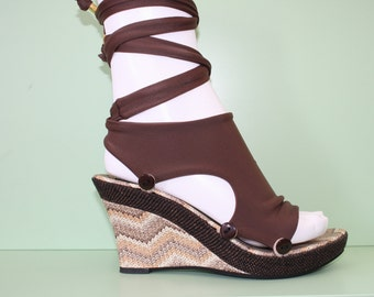 Basket wedge sandals with Ballet Sock - Customizable and Interchangeable