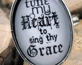 Ring Tune my Heart to Sing Thy Grace Hymn Adjustable Ring, Vintage Style Christian Ring
