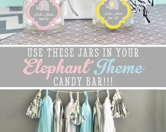 Elephant Baby Shower Favor Elephant Baby Shower Boy Baby Shower Elephant  Favors Elephant Favor Jars Blue