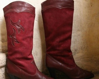 SALES 60% red wine oxblood german suede and leather boots with leaves flower detail and high heel