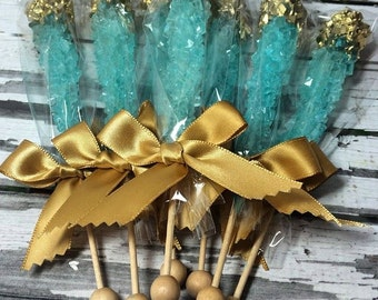 12 Teal Aqua Blue Rock Candy Sugar Sticks Gold Sweets Table Birthday Party Favors Wedding Baby Bridal Shower Corporate Event Gluten Free