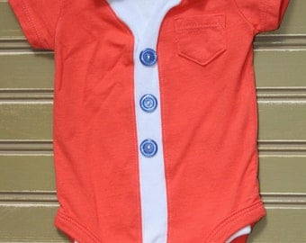 Boys Short Sleeve Cardigan Onesie Orange with Bow Tie