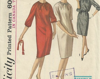 Vintage 1960s Simplicity 5578 Sewing Pattern - 60s one piece dress