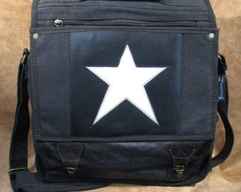 Animated LED Star Black Messenger Backpack 21515-1