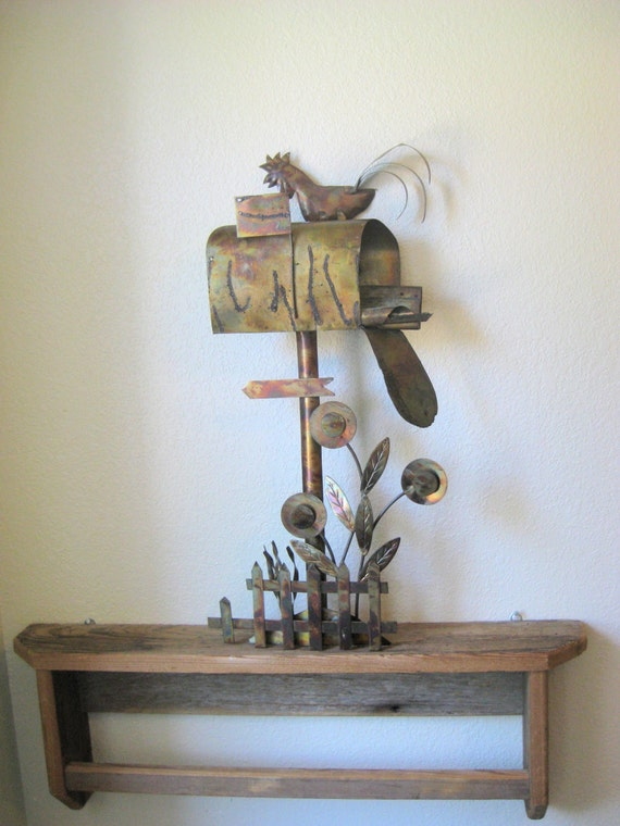 Wall Decor Mailbox : Metal wall sculpture mailbox letter holder s