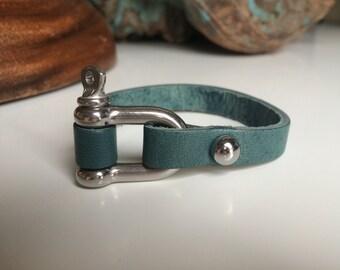 Nautical Bracelet Men's Bracelet Nautical Jewelry Nautical Bracelet Anchor Jewelry Rope Bracelet Mens Leather Bracelet Shackle Clasp