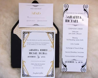 Great Gatsby Wedding Invite (Black, Gold, Art Deco)