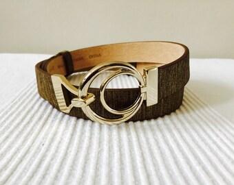 Vintage Chicos Brown Gold Metallic Leather Belt Size M/L Free Ship