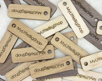 50 Product Tags - 0.5 x 1.5  Inches - laser cut and engraved to your specifications