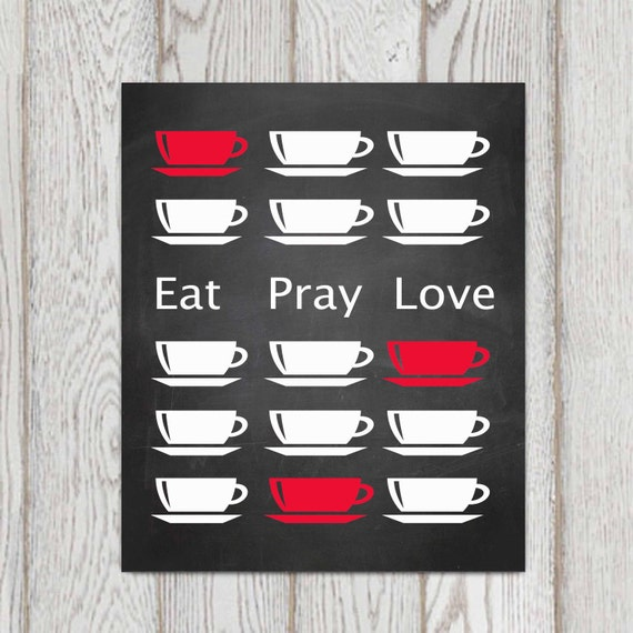 Eat pray love printable red kitchen wall art red kitchen decor print