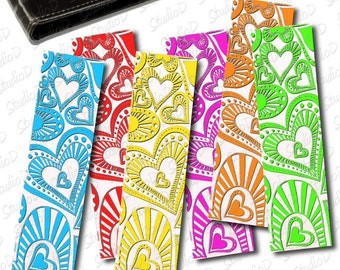 Heart Bookmarks, Back to school, Printable bookmarks, DIY bookmarks for instant download, Valentine gift, rainbow heart valentine bookmark
