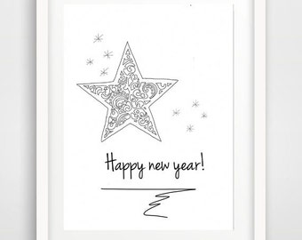 happy new year, new year printable, for holidays, instant download, holiday card, printable art, 2015 printable