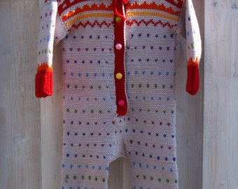 Ready to ship 0-6 and 6-12m. Hand knitted baby all in one piece,beige&red,rainbow dots baby overalls,romper,jumpsuit for baby girl or boy.