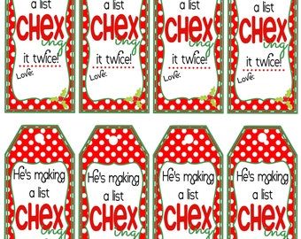 Chex Mix Christmas Gift Tags - Neighbor Chex Mix Gift - Printable Instant Download
