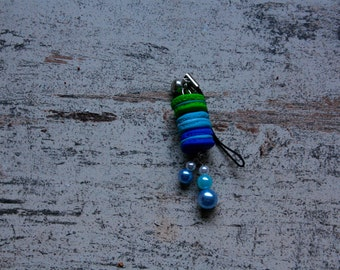Blue ans Green Cell Phone Charm with Macarons