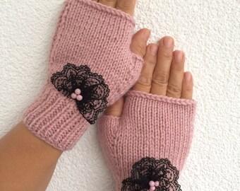 Pink Fingerless Gloves Lace Embroidered Pink Beads Mittens Handknit Gloves Handwarmer Winter Fashion, Nicknacky