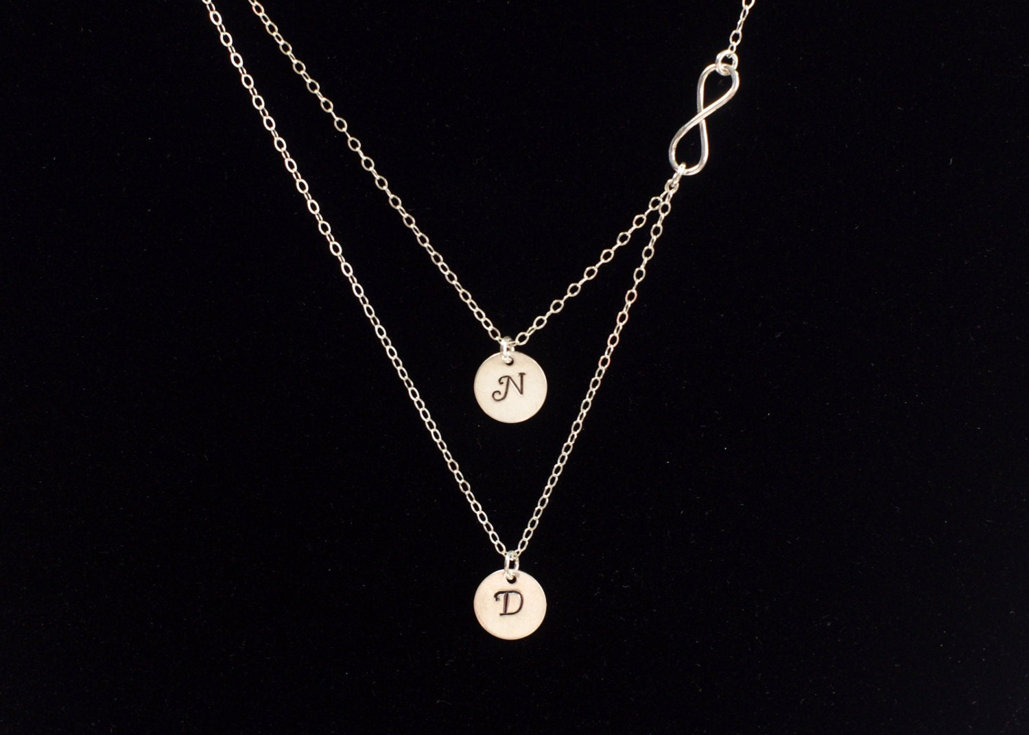 layered necklace strand necklace two initial necklace