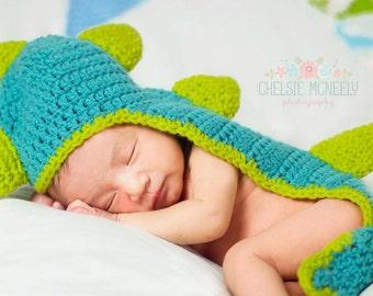 Crochet Dinosaur Hat-Baby Dinosaur Photo Prop-Crochet Dinosaur Cape-Ready to Ship