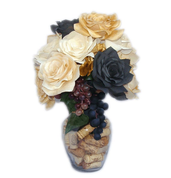 Items similar to wine themed floral centerpiece black and for Wine themed centerpieces