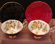 Rare Retro Queen Anne Bone China Cups and Saucers