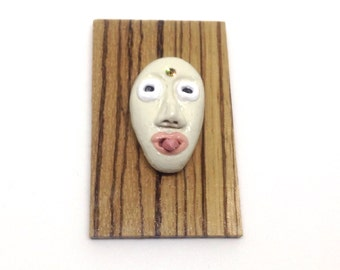 Miniature 'tribal' mask - handmade - OOAK- tongue sticking out