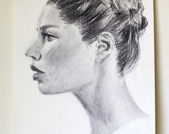 "Original Charcoal Drawing - Female Portrait ""Braid Crown"""
