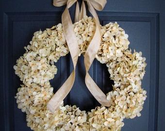 Wedding Wreath   Cream Hydrangea Wreath   Wedding Flower Wreath   Wreaths   Wedding Hydrangeas   Wreaths for Wedding   Wedding Decor