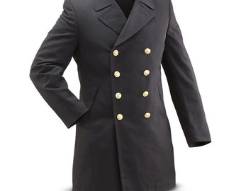 Vintage 1990s Double breasted German Navy Gaberdine Wool Army Trenchcoat Greatcoat trench military overcoat coat bundesmarine