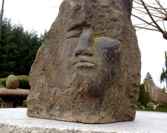 """Hand-Carved Black Basalt Sculpture Face in Stone by Joe Rivera """"Whispering Wind"""""""