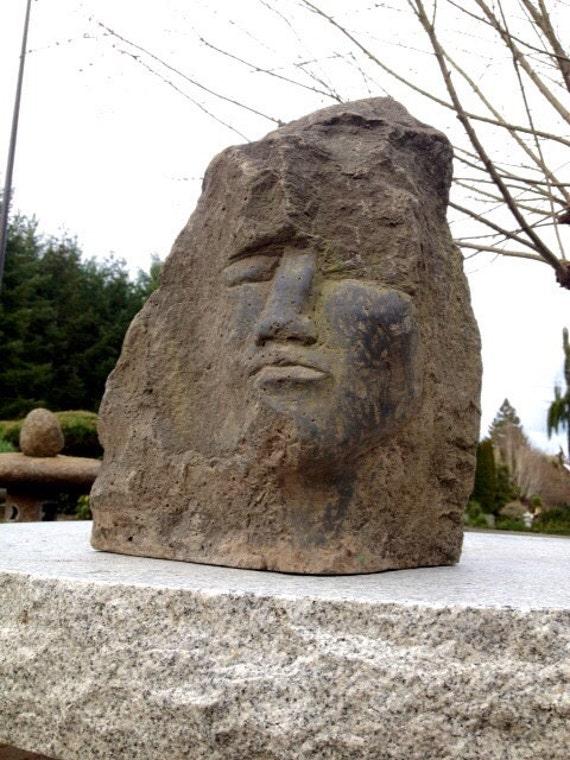 Basalt Stone Sculpture : Hand carved black basalt sculpture face in stone by joe rivera