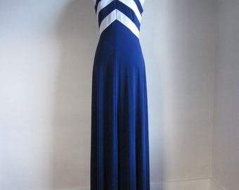Vintage 1970s Lord & Taylor Chevron Halter Gown Dress Navy White Full Length