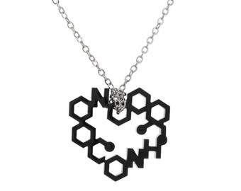 Small Laser Cut Love Chemistry Necklace