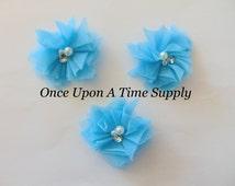 "Aqua Blue Tulle 2"" Twirl Pearl & Rhinestone Flowers - Your Choice Amount Flowers - Summer Wedding Match Colors - Hair Accessory Supply"