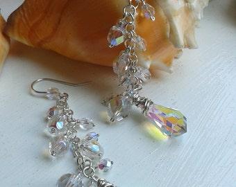Sterling Silver Crystal Wire Wrapped Drop Dangle Earrings