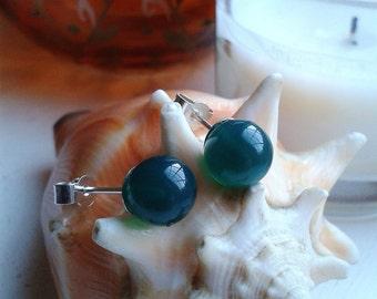 Sterling Silver 8mm Green Agate Ball Post Stud Earrings
