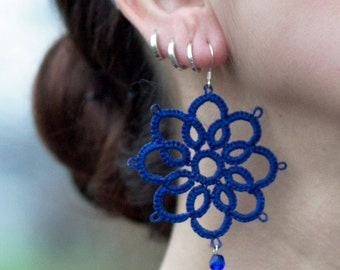 Handmade Tatting Earrings - very LIGHT! - blue