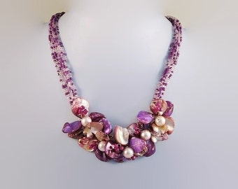 Purple Shell and Pearl Beaded Multistrand Cluster Bib Necklace Spring Summer Accessory Free Shipping to USA