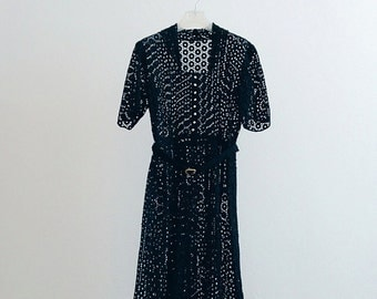 1950s black floral eyelet lace dress