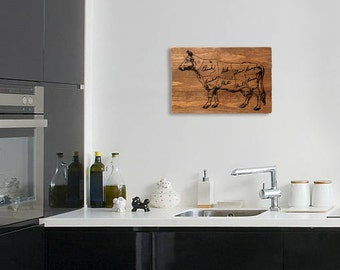 """Butcher Chart Kitchen Wall Art  Beef Diagram Sign on Distressed Solid Wood - 17"""" x 11"""""""