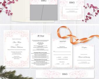 DIY  wedding pocketfold invitation suite templates| Pink vintage scroll wedding pocket fold set| Instant download|  T111
