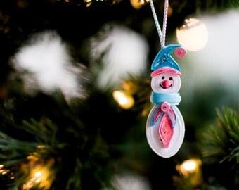 Snowman Ornament - Christmas tree Ornament - Christmas Ornament - Paper Ornament - Paper Quilling - Quilled Ornament
