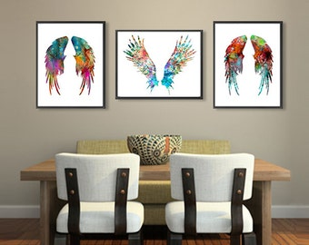 Wall Art Watercolor Angel Wings Art Print Set - Colorful Feather Watercolor Painting - Wall Decor - 187/106/406