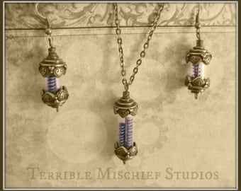 "Steampunk ""Aether Vials"" Brass Vial Necklace and Earrings Set"